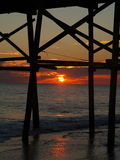Schöner NC-Pier-Sonnenuntergang Lizenzfreie Stockbilder