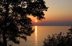 Schöner orange Sonnenuntergang Stockbild