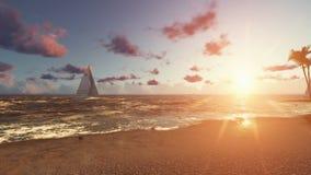 Schöner Ozeanstrand bei Sonnenuntergang mit Yacht und Seemöwen stock video