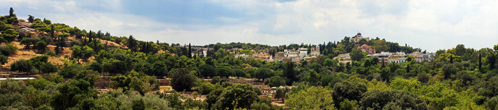 Schöner Panoramablick der Hügel, die Akropolis in Athen, Griechenland umgeben Lizenzfreie Stockbilder