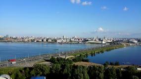 Schöner Panoramablick des Kremls in Kasan lizenzfreies stockbild