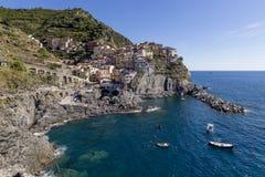 Schöner Panoramablick von Manarola, Cinque Terre Park, Ligurien, Italien lizenzfreie stockbilder