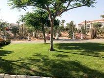 Schöner Park mit tropischen schönen natürlichen exotischen Anlagen, Bäume mit Rot blüht Delonix, weiße Gebäude der Blumenblätter  stockbilder