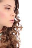Schöner Porträtprofilabschluß der jungen Frau oben stockfotografie