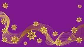 Schöner purpurroter Hintergrund mit Goldwelle und -sternen Lizenzfreie Stockfotos
