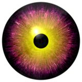 Schöner purpurroter und runder Augapfel des Gelbs 3d Halloween vektor abbildung
