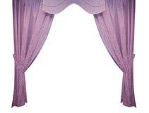 Schöner purpurroter Vorhang in einer klassischen Art Getrennt Stockfotos