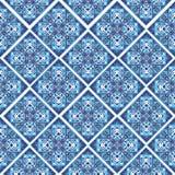 Schöner quadratischer dekorativer Fliesenhintergrund Nahtloses Muster in den blauen marokkanischen Fliesen der Art Lizenzfreies Stockbild