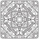 Schöner quadratischer dekorativer Fliesenhintergrund Quadratische geometrische Mandala mit runden Ecken Lizenzfreie Stockfotos