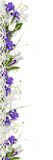 Schöner Rand mit purpurroten Frühlingsblumen Lizenzfreies Stockbild