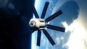 Schöner realistischer Satelitte in der niedrigen Umlaufbahn der Erde stock video footage