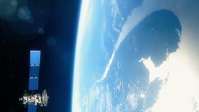 Schöner realistischer Satelitte in der niedrigen Umlaufbahn der Erde vektor abbildung