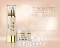 Schöner realistischer Vektor für Anzeige der organischen kosmetischen Reihe mit Gesichtscremebehälter und -perlen lizenzfreie abbildung