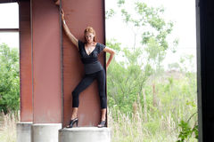 Schöner Redhead, der auf Spalte (1) steht Lizenzfreie Stockfotografie