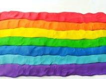 Schöner Regenbogen bewegt Plasticinelehm, Vielzahl von Leuten, sexuelle Verschiedenartigkeit wellenartig lizenzfreie stockfotos