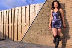 Schöner, reizvoller Brunette, der purpurrotes Kleid trägt Lizenzfreie Stockfotografie