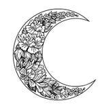 Schöner romantischer sichelförmiger Mond mit Rosafarbenem oder Pfingstrose blüht stockbild