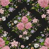 Schöner rosa Rosenrahmen auf Schwarzem Vektor Lizenzfreies Stockfoto