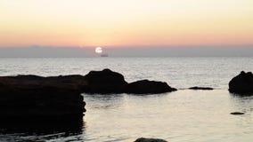 Schöner rosa Sonnenuntergangsonnenaufgang auf dem Meer, völlige Ruhe, fliegende Seemöwen stock video footage