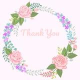 Schöner Rosafarbener und Blumenkranz für Karte stock abbildung
