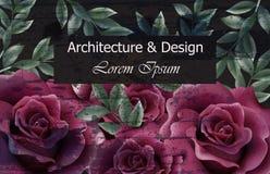 Schöner Rosenhintergrund Vektor Dunkler violetter Rosenblumendekor Elegante Weinlesehintergründe Kreative Architektur Lizenzfreie Stockfotografie
