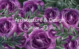 Schöner Rosenhintergrund Vektor Violetter Rosenblumendekor Elegante Weinlesehintergründe Kreative Architektur und Lizenzfreies Stockbild