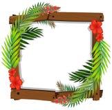 Schöner roter Hibiscus-und Blatt-Rahmen Lizenzfreie Stockbilder