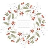 Schöner runder Rahmen mit Blumen, Blättern und Beeren auf Weiß lizenzfreie abbildung