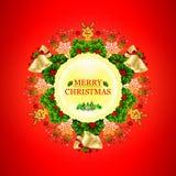Schöner runder Weihnachtskranz mit Sternen, Schneeflocken, Bögen, Lichtern und kleinen Rotwild vektor abbildung