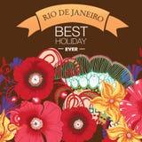 Schöner Sambatänzer und Blumeneinladung Stockfotografie