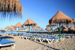 Schöner sandiger Doppelpunkt Playa Des Puerto in Adeje auf Teneriffa Lizenzfreie Stockbilder