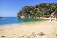 Schöner sandiger Strand in Preveza-Bereich Lizenzfreies Stockbild