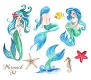 Schöner Satz des von Hand gezeichneten Aquarells der Meerjungfrauillustration Lizenzfreie Stockfotografie