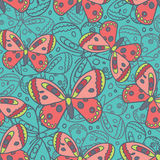 Schöner Schmetterlings-blaues nahtloses Muster Lizenzfreie Stockfotos