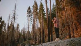 Schöner Schuss des jungen männlichen Fotografen, der Fotos des schönen Waldsonnenuntergangs an der Yosemite-Gebirgsparkzeitlupe m stock footage