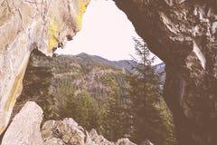 Schöner Schuss von hohen felsigen Bergen und von Wald stockfoto