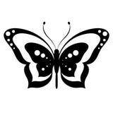 Schöner schwarzer Schmetterling, lokalisiert auf einem Weiß Stockfotografie