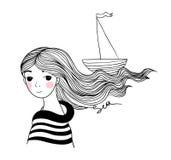 Schöner Seemann des jungen Mädchens mit dem Schiff in ihrem Haar Stockbild