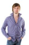 Schöner self-confident Mann im Hemd Lizenzfreie Stockbilder