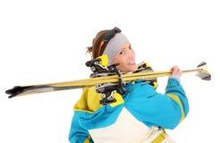 Schöner Skifahrer Lizenzfreies Stockfoto