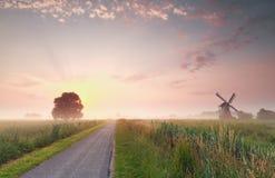 Schöner Sommersonnenaufgang auf niederländischem Ackerland Lizenzfreies Stockbild