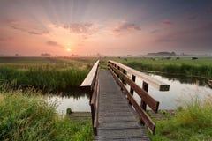 Schöner Sonnenaufgang über Fahrradbrücke im Ackerland Stockfotografie