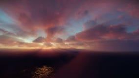 Schöner Sonnenaufgang über Wolken und Ozean, godrays vektor abbildung