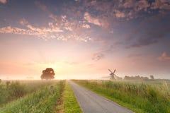 Schöner Sonnenaufgang auf niederländischem Ackerland mit Windmühle Stockbild