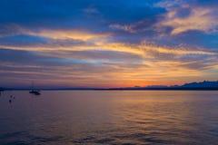 Schöner Sonnenaufgang beim Genfersee die Schweiz Stockbilder