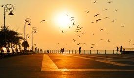 Schöner Sonnenaufgang mit Schattenbildern von Leuten und von Vögeln Stockfotografie