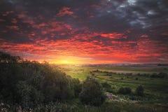 Schöner Sonnenuntergang auf dem Gebiet Lizenzfreies Stockbild
