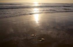 Schöner Sonnenuntergang auf Karon-Strand Die Brandung zerstößt das Ufer Phuket, Thailand Lizenzfreie Stockbilder