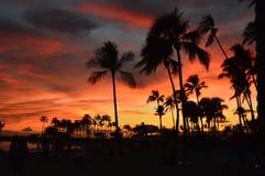 schöner Sonnenuntergang auf Waikiki-Strand lizenzfreie stockfotos