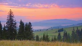 Schöner Sonnenuntergang in der Gebirgslandschaft Karpaten, Ukraine Lizenzfreies Stockfoto